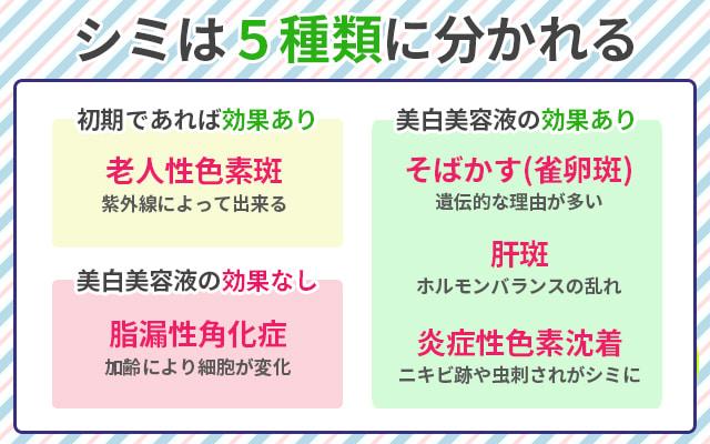 シミは5種類に分かれる