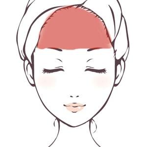前頭筋の場所を示す女性